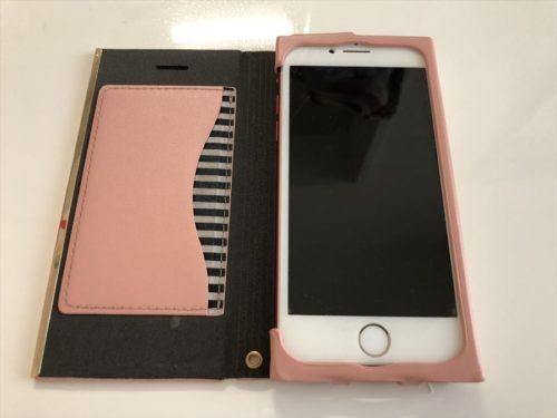 手帳型ケース着用のiPhone8