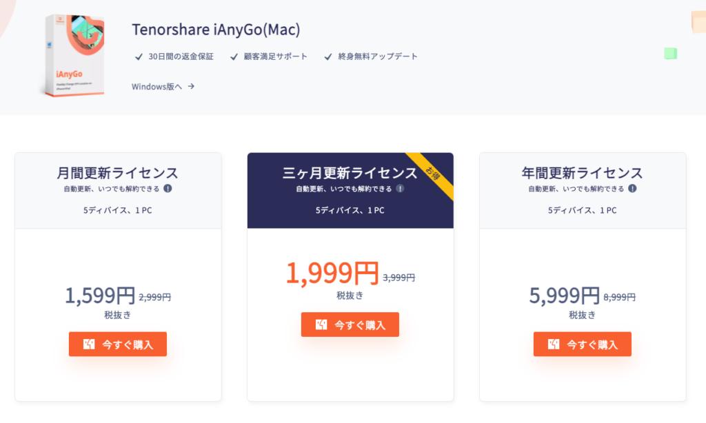 iAnyGoのMac版有料ライセンスの価格