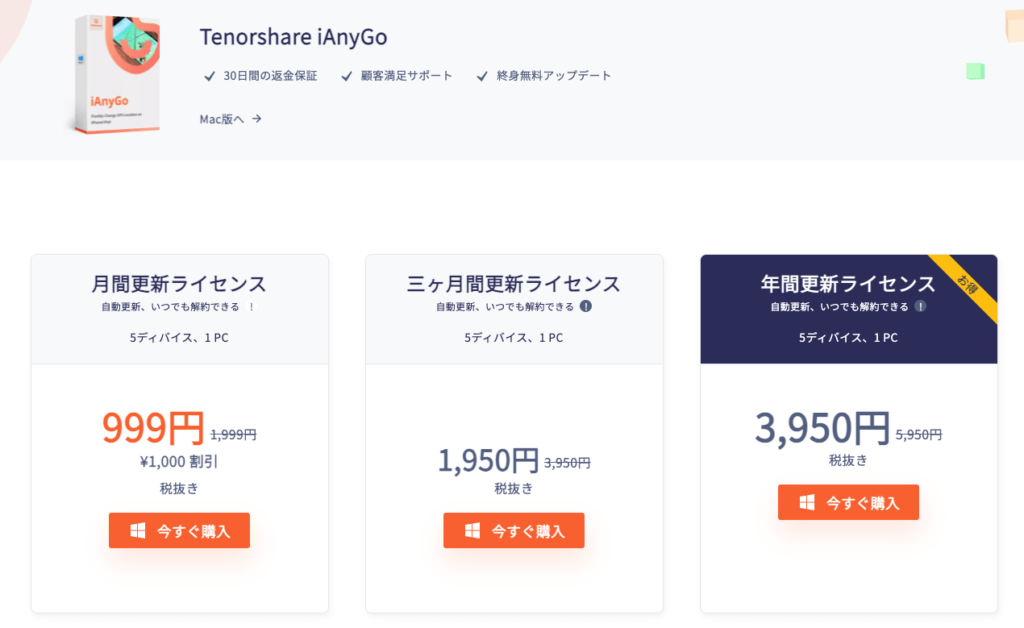 iAnyGoのWindows版有料ライセンスの価格