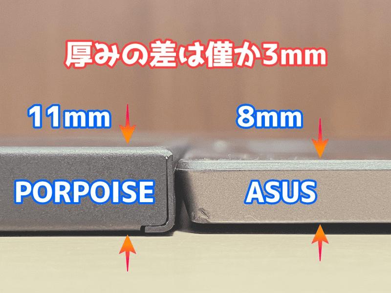 17.3インチモバイルモニターの厚み